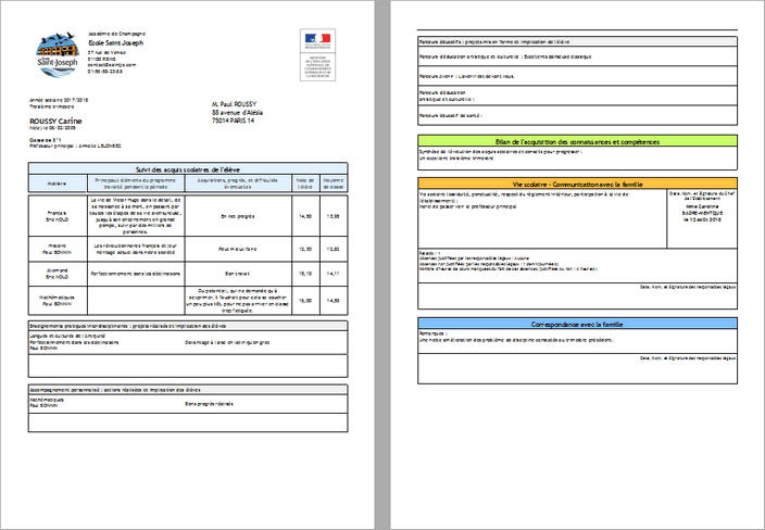 Bulletin type Education Nationale